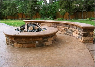 sitting bench, fire pit